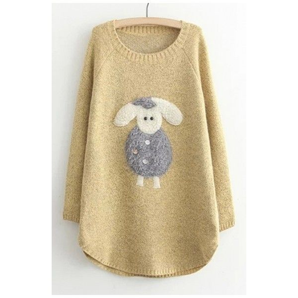Cartoon Lovely Little Sheep Patched Round Neck Long Sleeve Tunic... (135  AED. Beige PulloverLangarm TunikaPullover StrickenLange ... e827f1e5f6