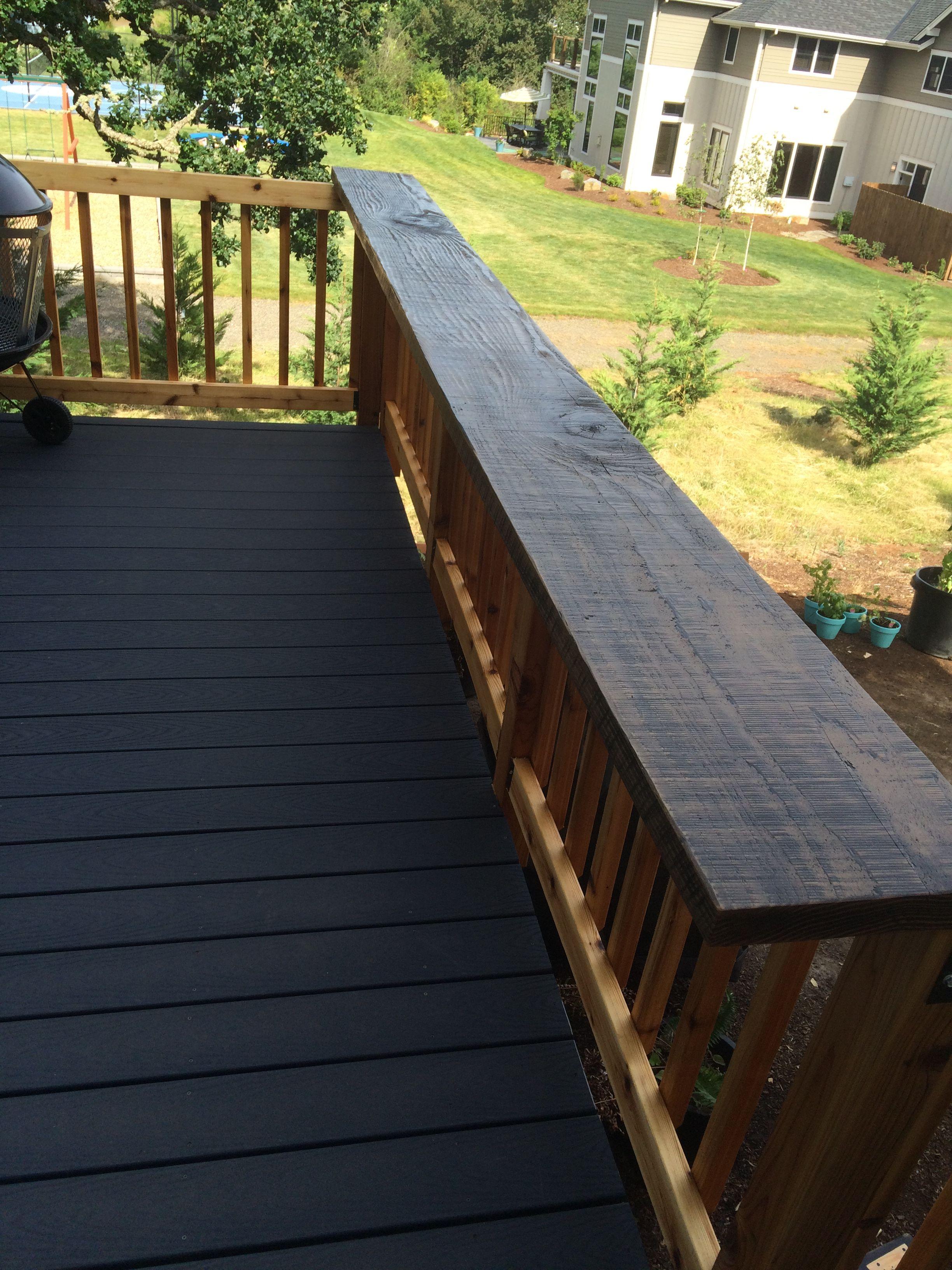 Bar Top Railing Out Of Rough Sawn Reclaim Barn Beams Deck Railing Design Patio Railing Railings Outdoor