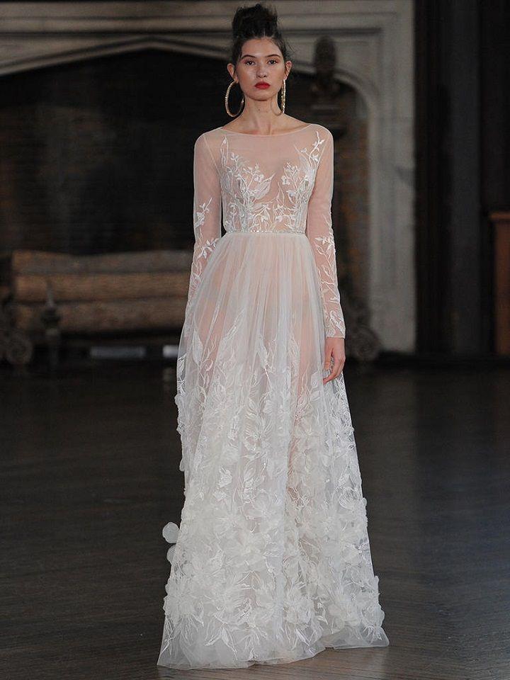 Berta long-sleeve wedding gown with 3-D floral details | itakeyou.co.uk #wedding #weddingfashion #bridal #weddingdress #weddinggown #bridalgown #weddingdresses #weddinggowns #berta #bridalinspiration #weddinginspiration #engaged