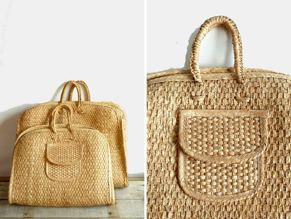 Vintage Raffia woven straw rattan beach bag xl by pieceshop ...