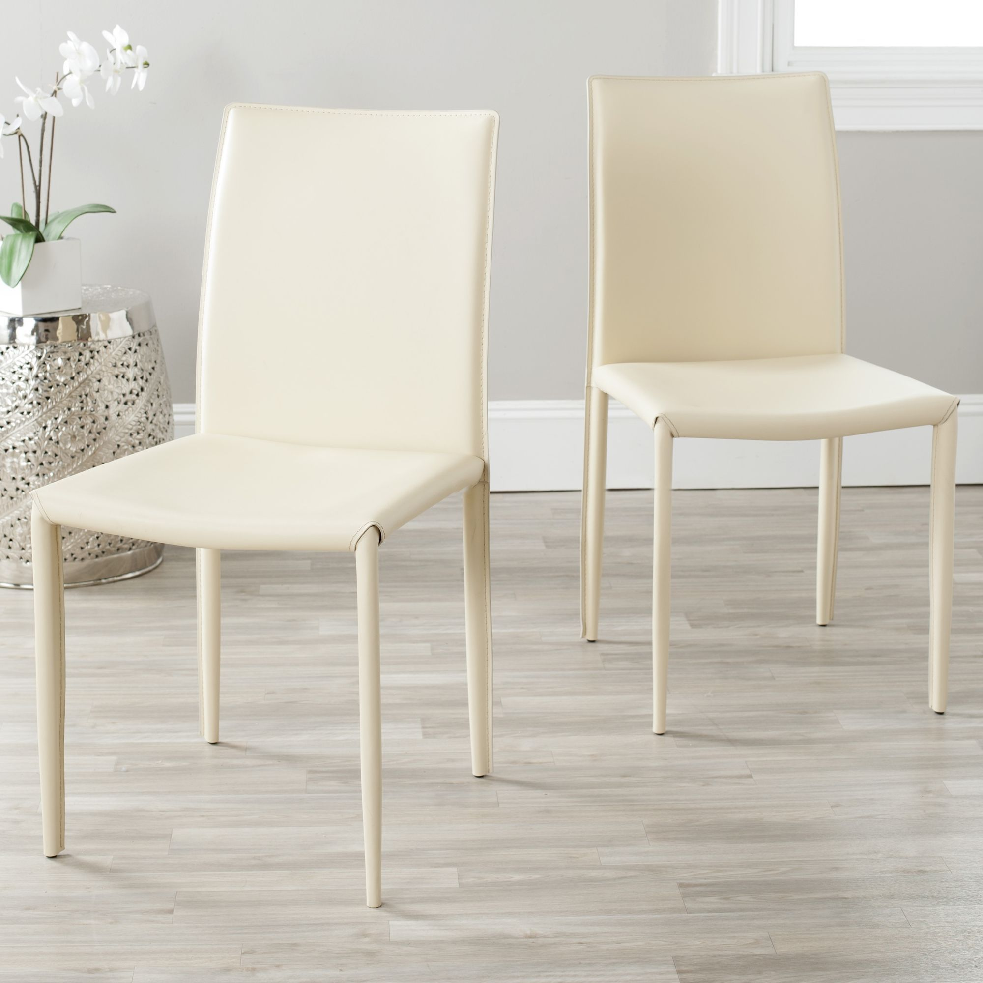 Ivory Dining Room Chairs Mesmerizing Safavieh Midcentury Dining Jazzy Bonded Leather Cream Dining Review
