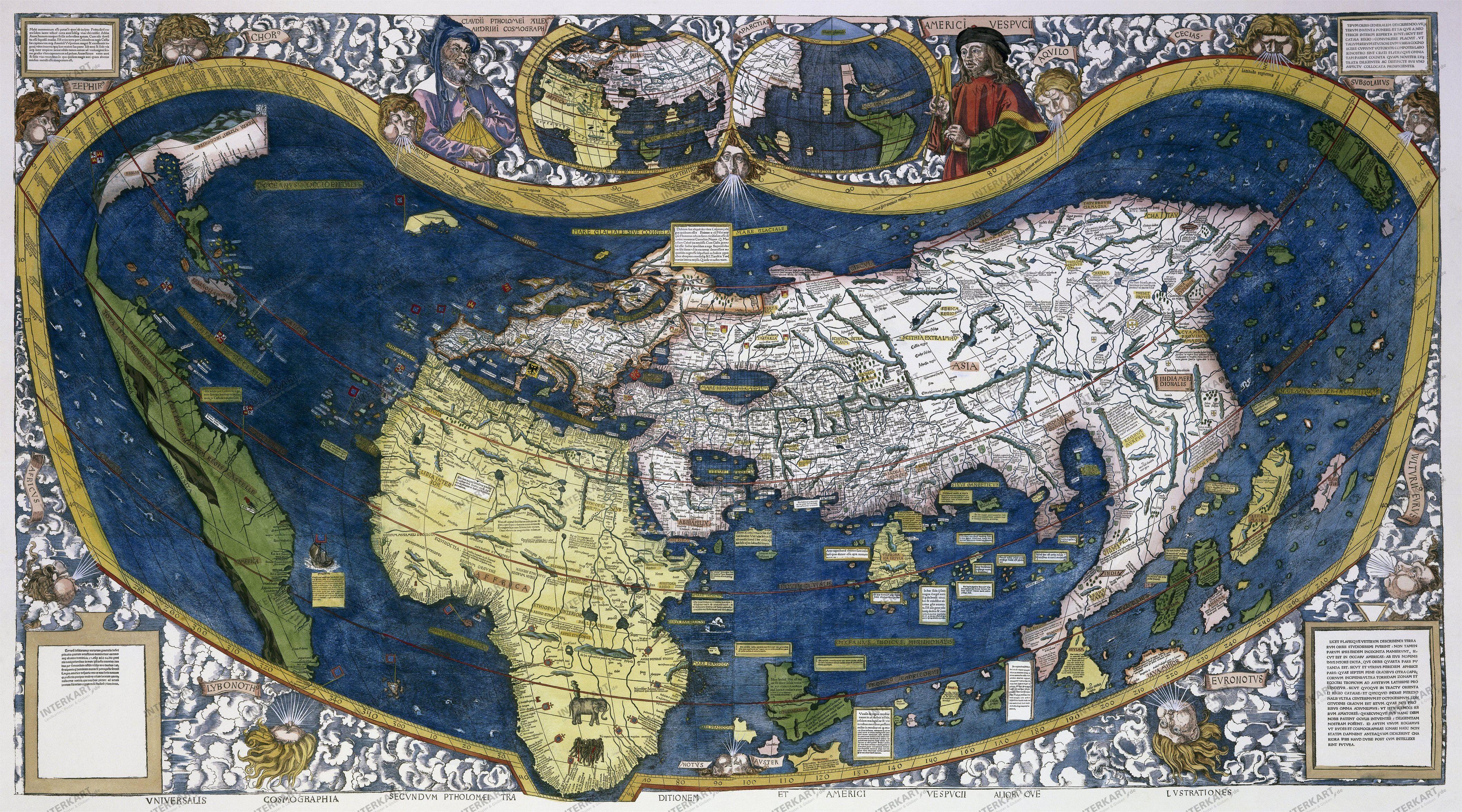Waldseemüller\'s Weltkarte (1507) 88 x 52cm   Alte karten, Weltkarte ...