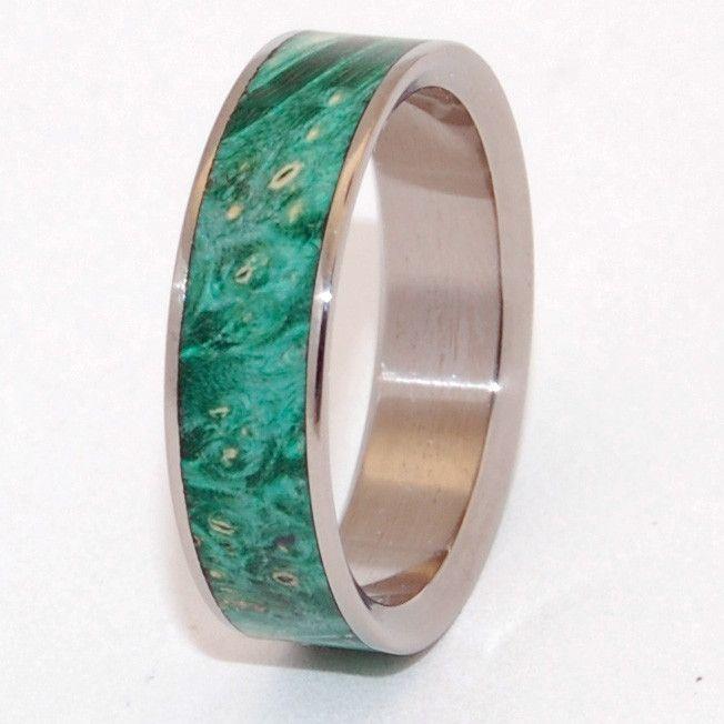 Green box elder Minter Richter Titanium Rings Wooden Wedding