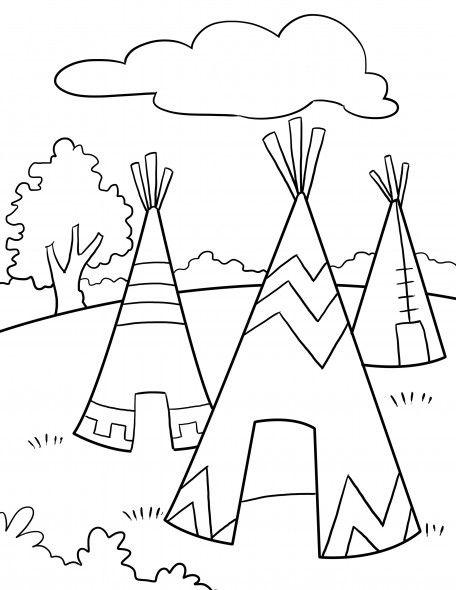 Native Americans Thanksgiving coloring page | Pre-K Theme: Native ...