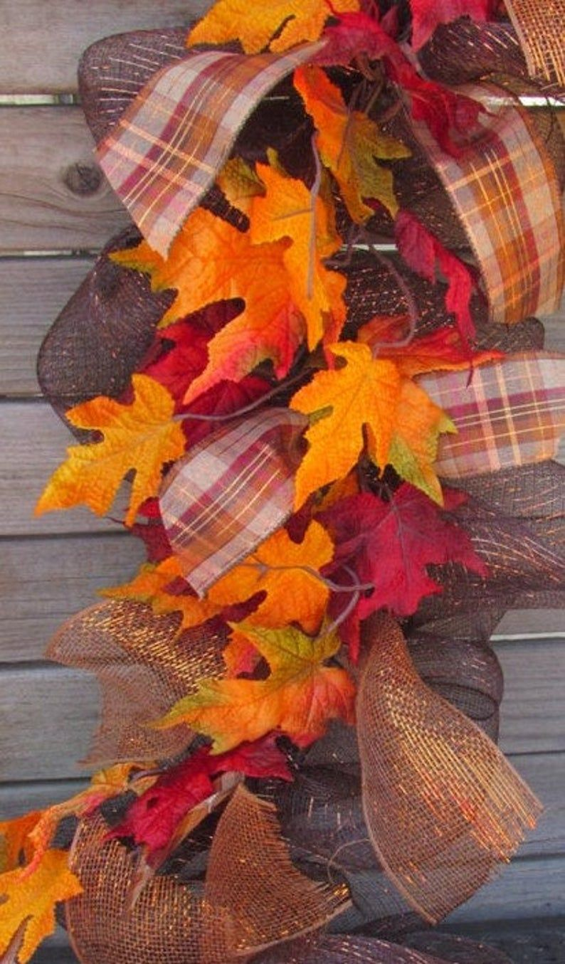 10' Fall Garland Fall Leaf Garland Fall Deco Mesh Garland Fall Leaf Swag Brown/Orange Garland Maple Leaf Garland Fall Leaf Mesh Door Decor #leafgarland