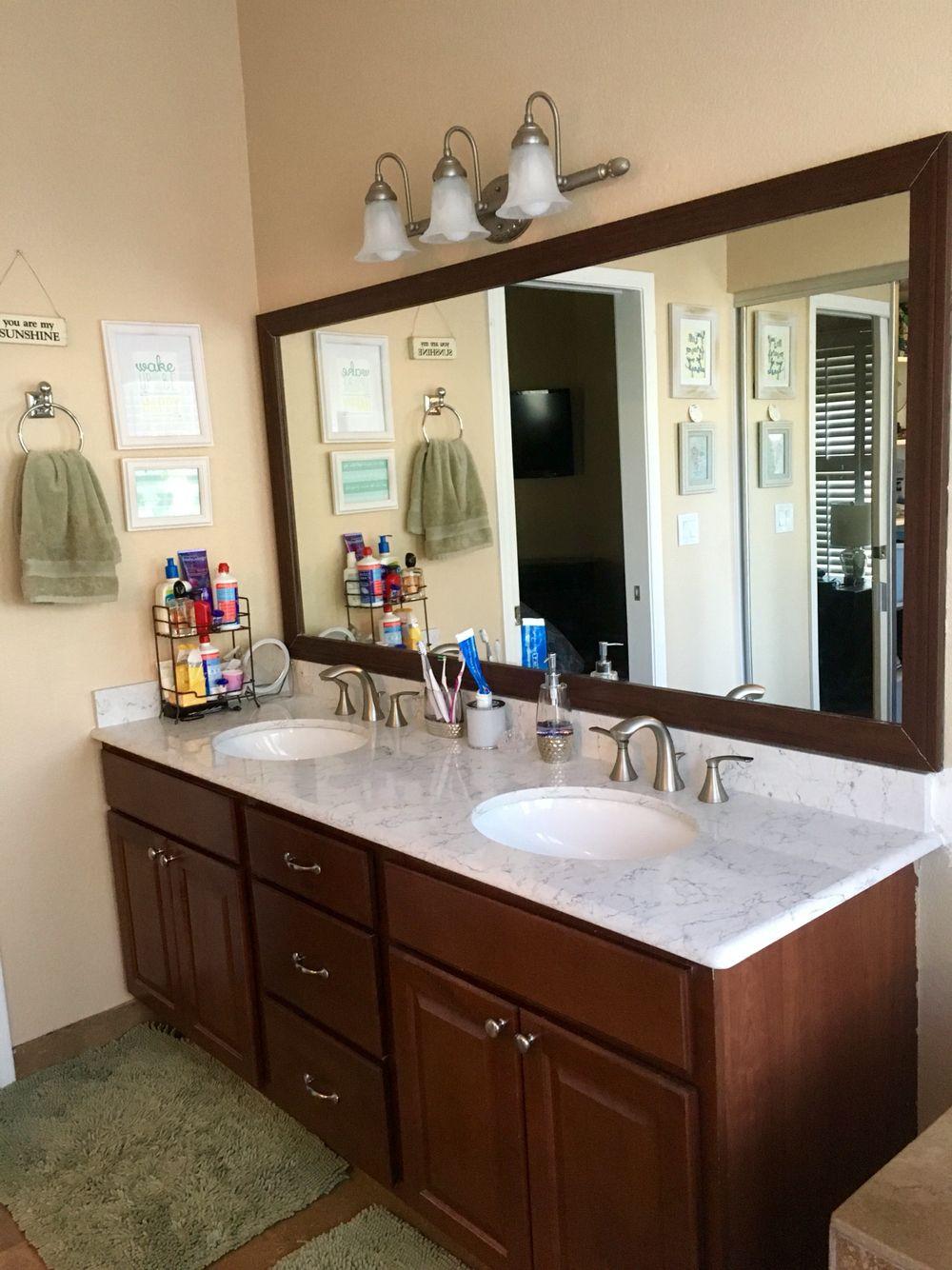 Our Master Bath Vanity Upgrade. Countertops: Silestone Arabesque ...