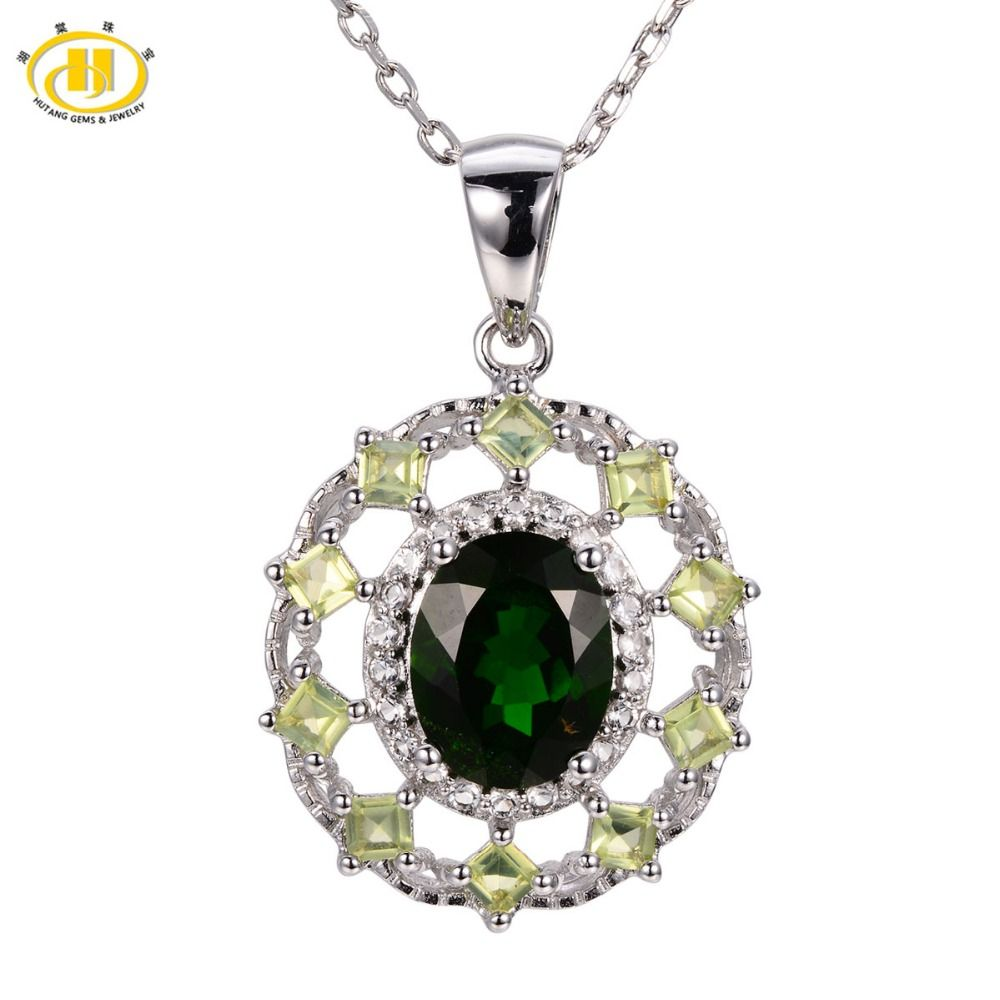 Hutang russia emerald natural chrome diopside peridot pendant hutang russia emerald natural chrome diopside peridot pendant solid 925 sterling silver necklace womens gift aloadofball Image collections