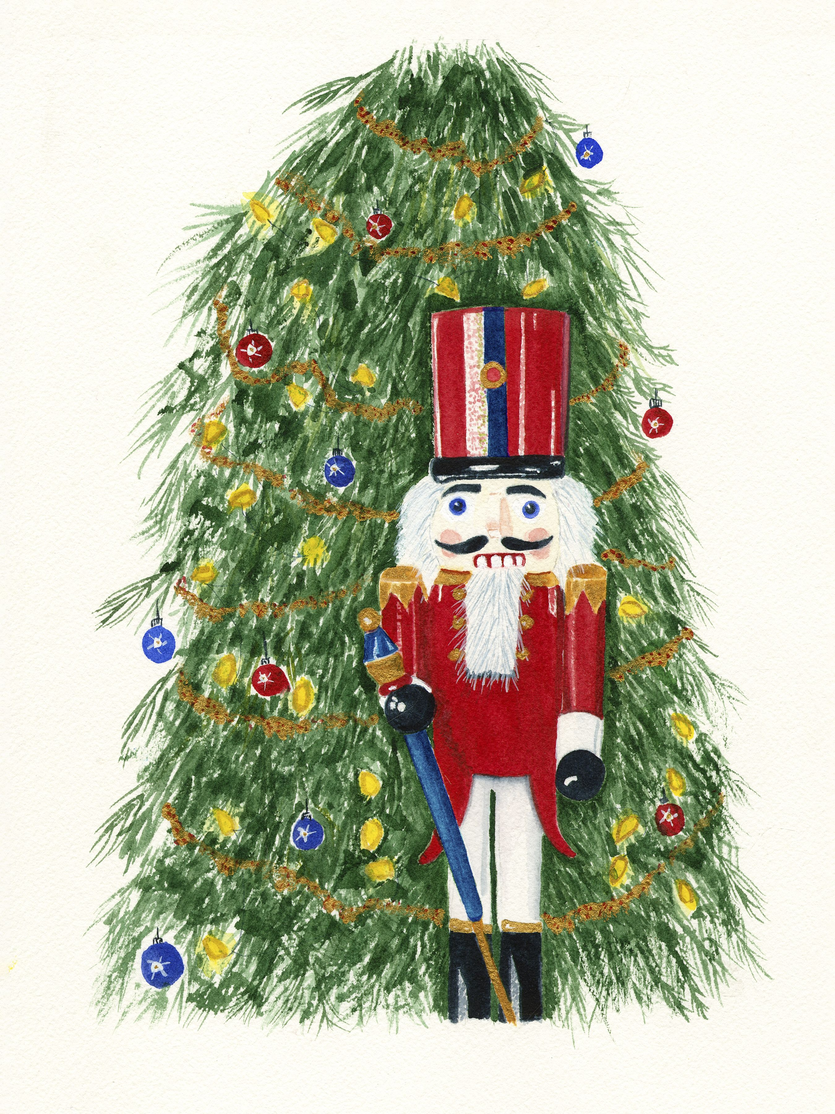 Watercolor Art Print Toy Soldier By Christmas Tree In 2020 Watercolor Christmas Tree Christmas Tree Painting Watercolor Art Prints