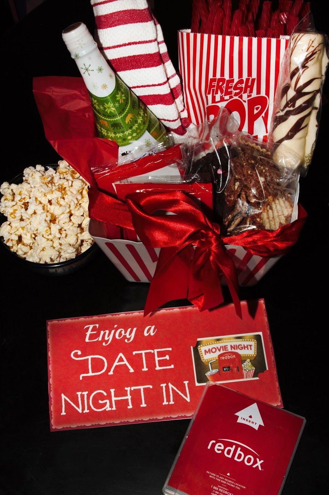 DIY Date Night In Gift Basket with Redbox | Free printable, Gift ...