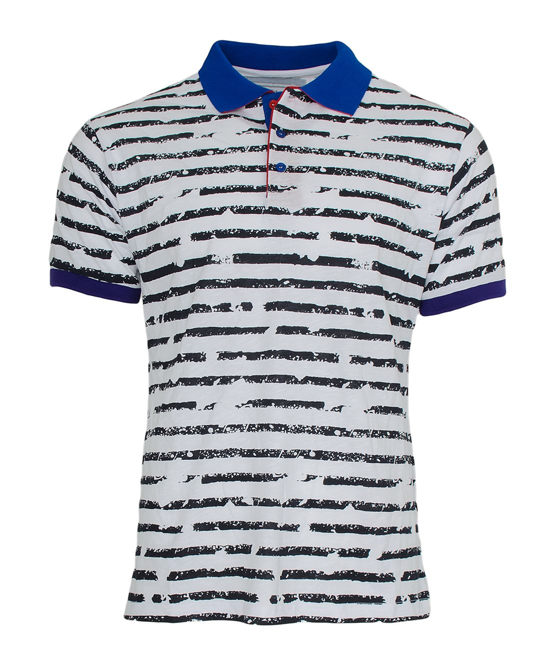 65e5cca4cfba Κοντομάνικη άσπρη ανδρική polo μπλούζα με μαύρες οριζόντιες γραμμές και  μπλε γιακά