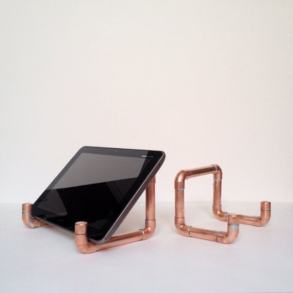 Industrial Design Copper Pipe iPad Stand, iPad Mini Tablet Holder,  Steampunk Decor, Modern