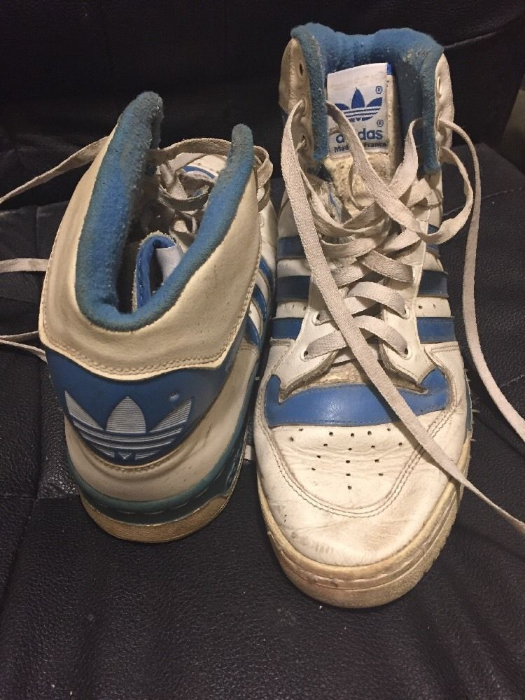 vtg 80s Adidas High-Top basketball sneakers shoes Sz 9 Mens Made in France   880ee3211ed