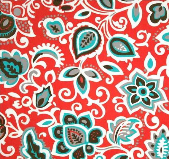 Indoor Outdoor Fabric Red Tropical Floral Fabric By The Yard