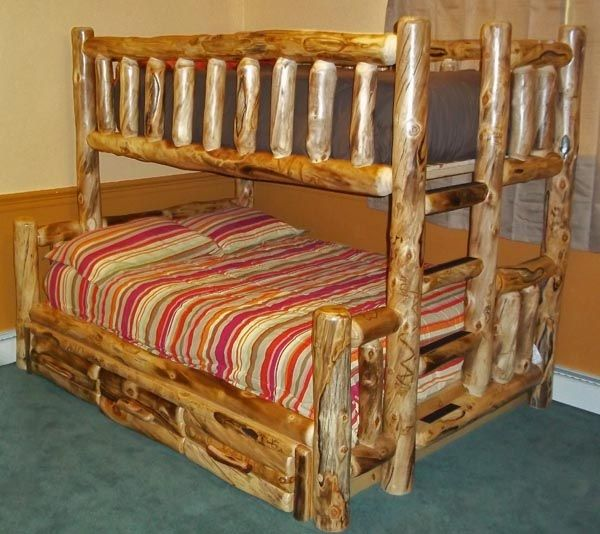 Aspen Log Bunk Bed Shown With Optional 3 Storage Drawers Item