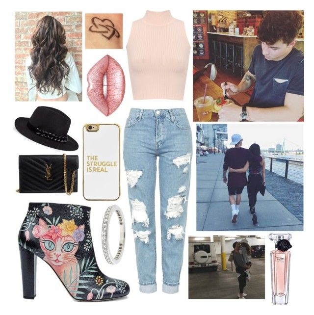 """""""A DAY on the town"""" by halbrown on Polyvore featuring Topshop, WearAll, Camilla Elphick, Yves Saint Laurent, BaubleBar, Karl Lagerfeld, Tiffany & Co., Lime Crime and Lancôme"""