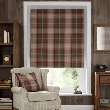 Dunelm Check Red And Brown Highland Amp 137x61cm Blackout