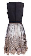 Black Sleeveless Bead Embroidery Applique Dress - Sheinside.com