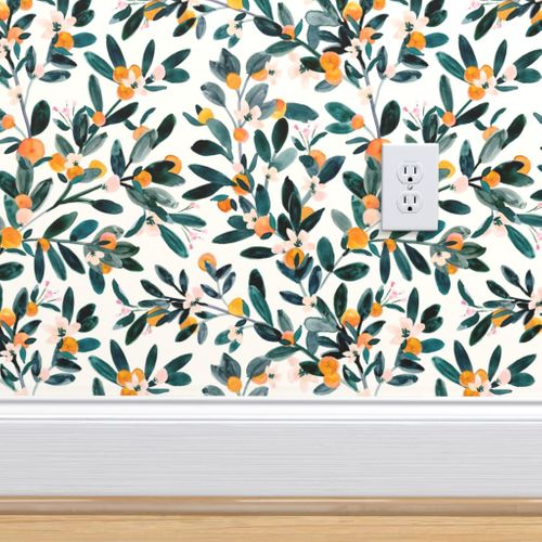 Clementine Sprigs White Spoonflower Wallpaper Accent Wallpaper Removable Wallpaper Bathroom