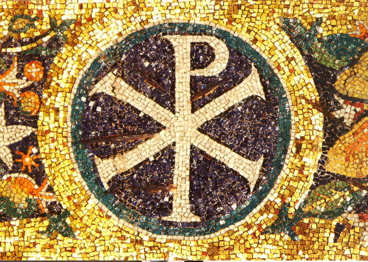 Byzantio mosaic with the greek letters x chi and p roo in the byzantio mosaic with the greek letters x chi and p roo in the well spread symbol for christ in greek letterfoms biocorpaavc Image collections