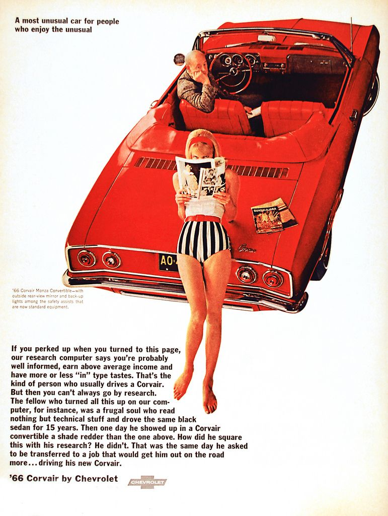 The rear engine air cooled chevrolet corvair ad mine was little red hard top with white leather seats all my cars back then were red