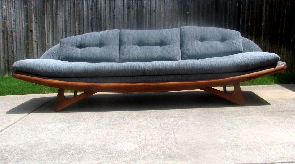 Mid Century Danish Modern Adrian Pearsall 8 Foot Gondola Sofa
