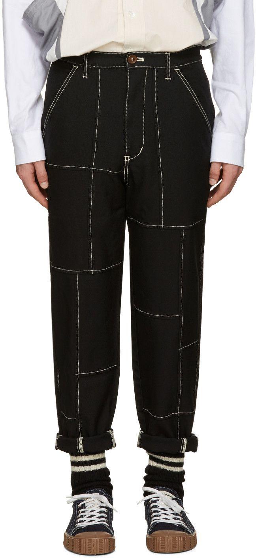 Comme des Garçons Shirt - Black Contrast Stitching Trousers