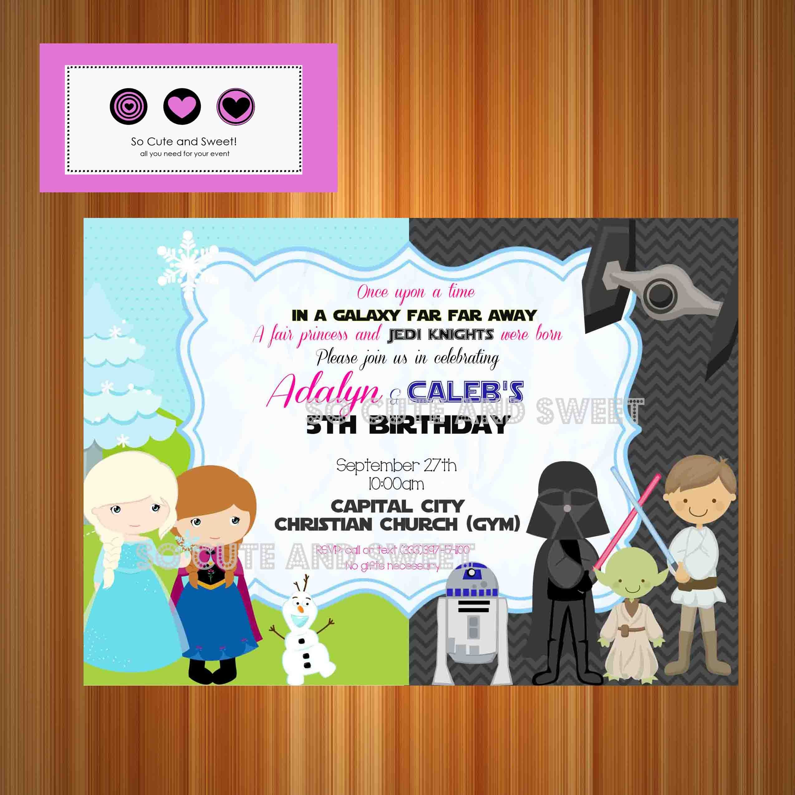 Frozen and Star Wars Birthday Invitation Disney Princesses Star