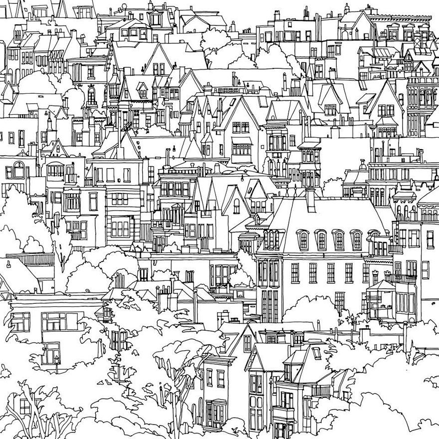 Highly Detailed Coloring Book For Adults Features Famous World Cities Fantastic Cities Coloring Book Coloring Books Steve Mcdonald