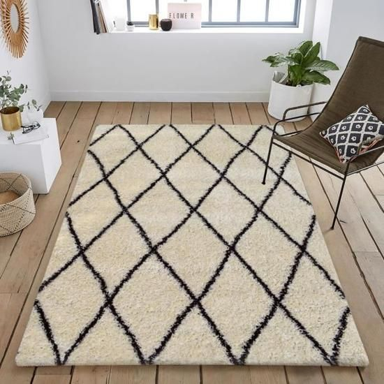 Asma tapis de salon shaggy style berb re 120 x 160 cm cr me et marron motif g om trique - Tapis salon black friday ...