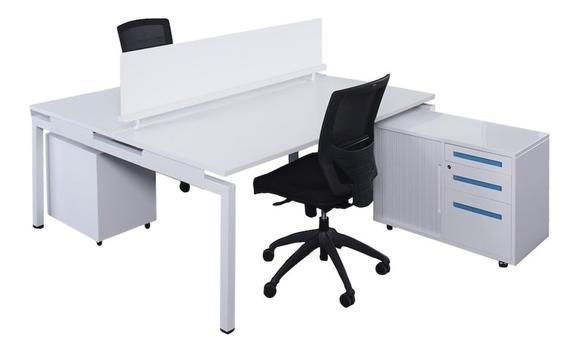 Literail 2 Person Ergonomic Workstation Desk White Square Leg