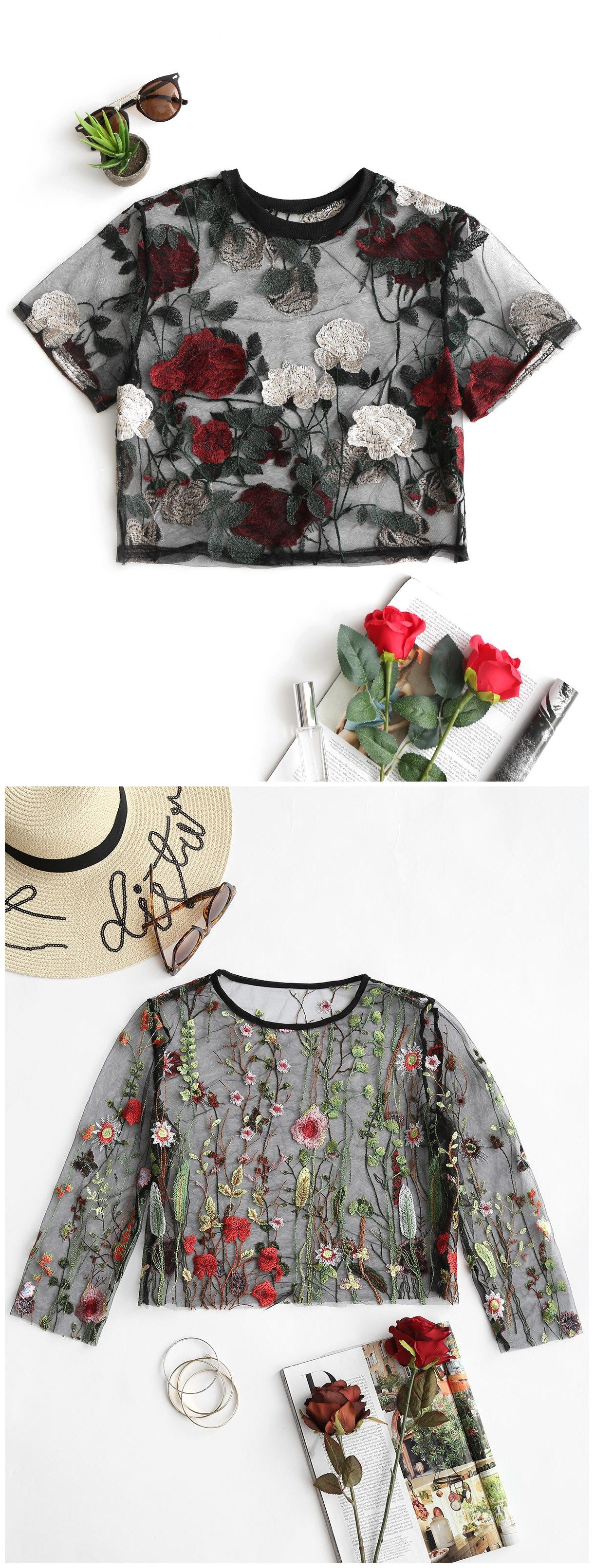Lace bodysuit shirt  Up to  OFF Floral Sheer Crop Mesh Blouse Zaful Tops zaful