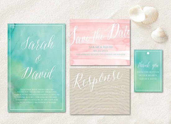 DIY Beach Wedding invitation FREE download from Wedding Chicks