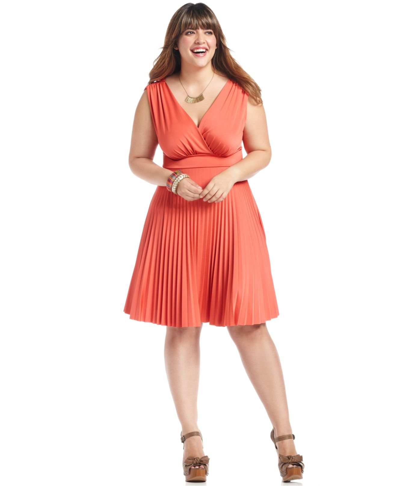 Plus size coral dress for wedding  Soprano Plus Size Dress Sleeveless Pleated ALine  Plus Size