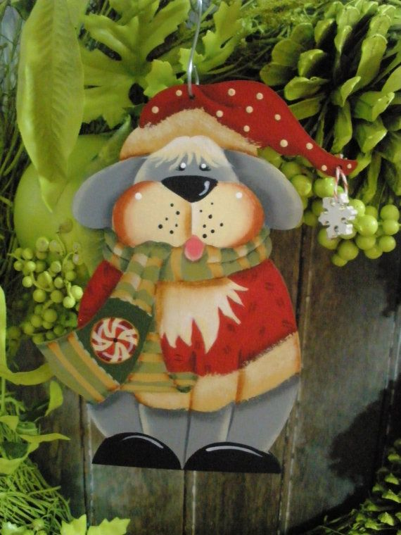 Tole Christmas Dog Ornament van LeeArt op Etsy