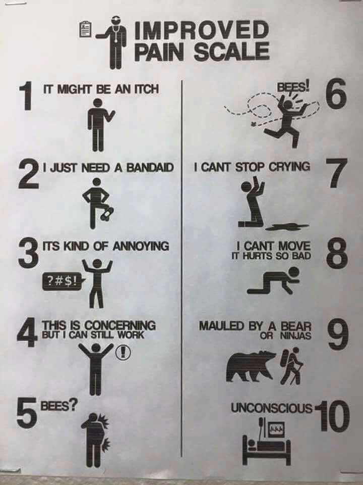 Improved pain scale mauled by  bear or ninjas also what you say rh pinterest