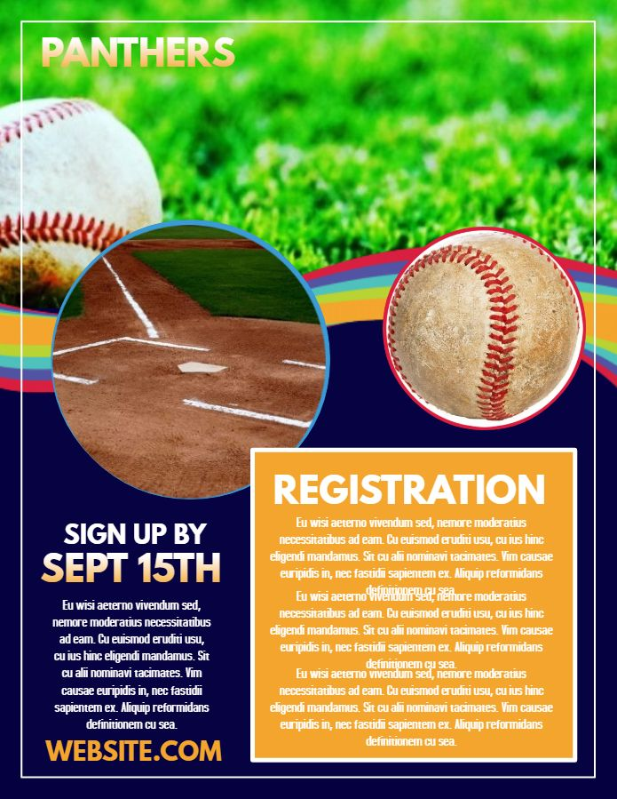 school baseball registration poster flyer template click to