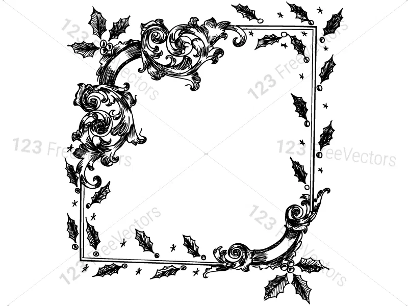 Hand Drawn Christmas Frames Vector and Brush Pack01