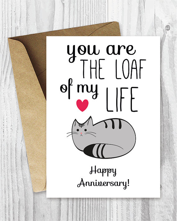 Anniversary Cards, Printable Anniversary Card, Cat Loaf Funny - anniversary printable cards