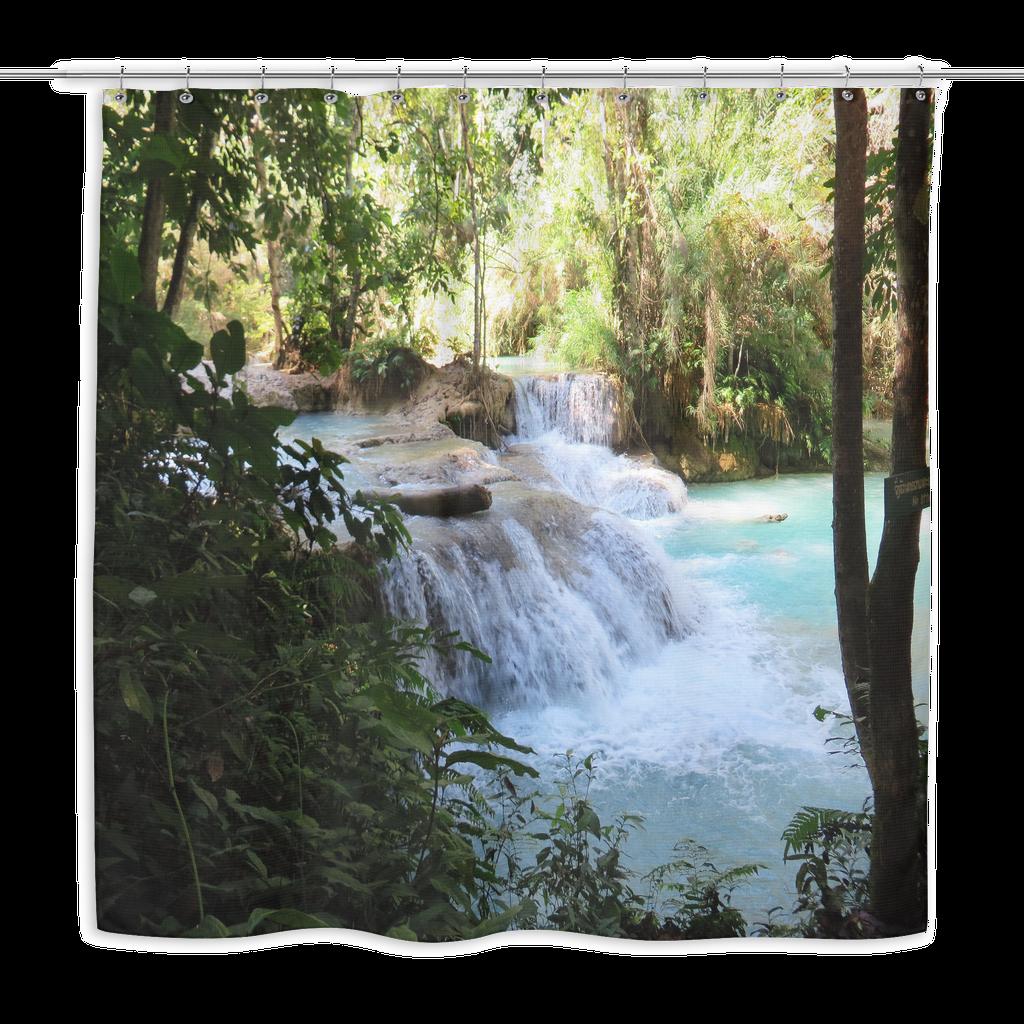Laos Waterfall Shower Curtain Waterfall Shower Waterfall
