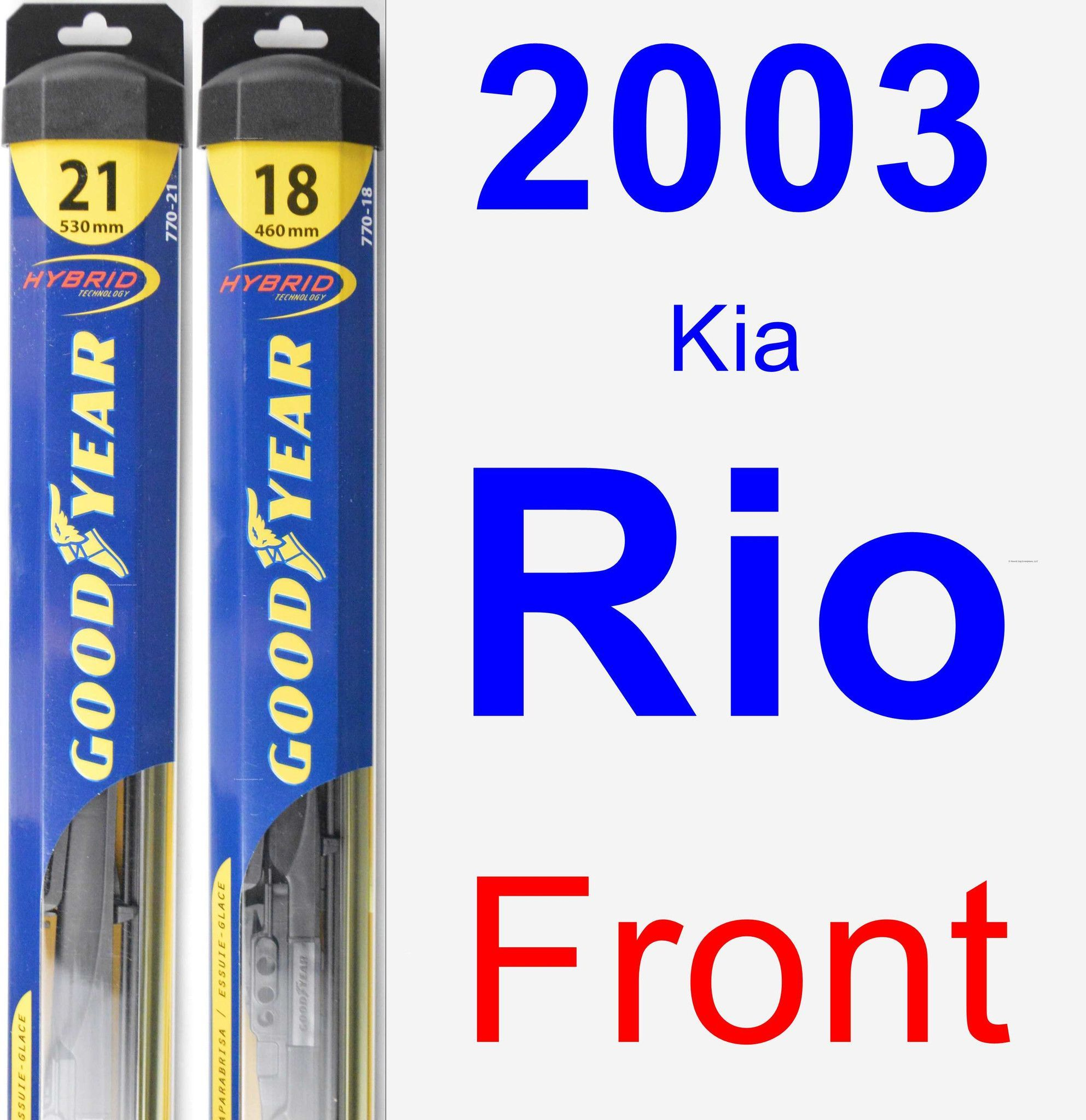 Front Wiper Blade Pack for 2003 Kia Rio - Hybrid
