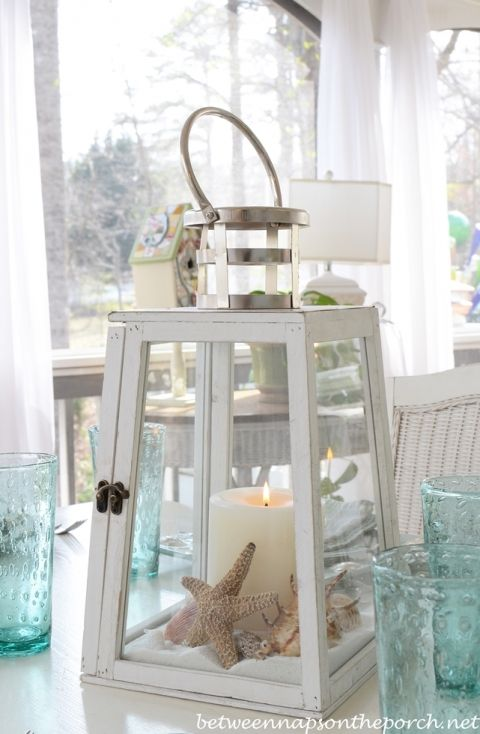 Beach Table Setting With Lighthouse Lantern Centerpiece is part of Beach Table Setting With Lighthouse Lantern Centerpiece - Soft Aqua Setting& A Lighthouse Lantern