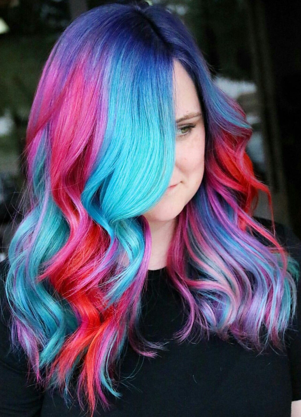 blue pink multi dyed hair color @makeupbyfrances | hair dye ideas
