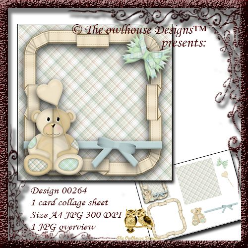 $1.00 00264 digital card collage template To make your own cute ...