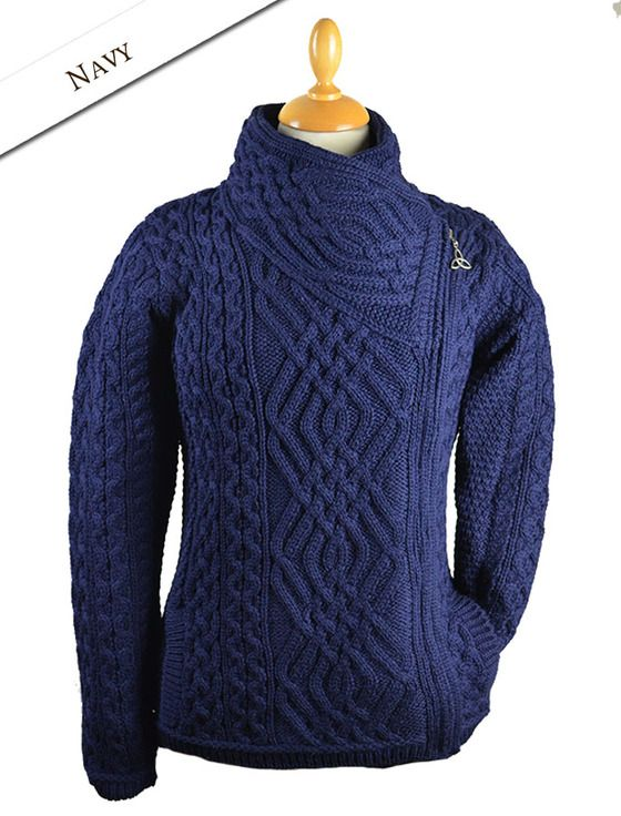 Aran Jacket with Celtic Knot Side Zip | Tejido, Cable y Puntadas