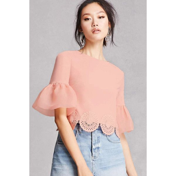 Forever21 Bell Sleeve Crop Top ($28) ❤ liked on Polyvore featuring tops, blush, boxy crop tops, bell sleeve tops, three quarter sleeve tops, red top and red crochet top