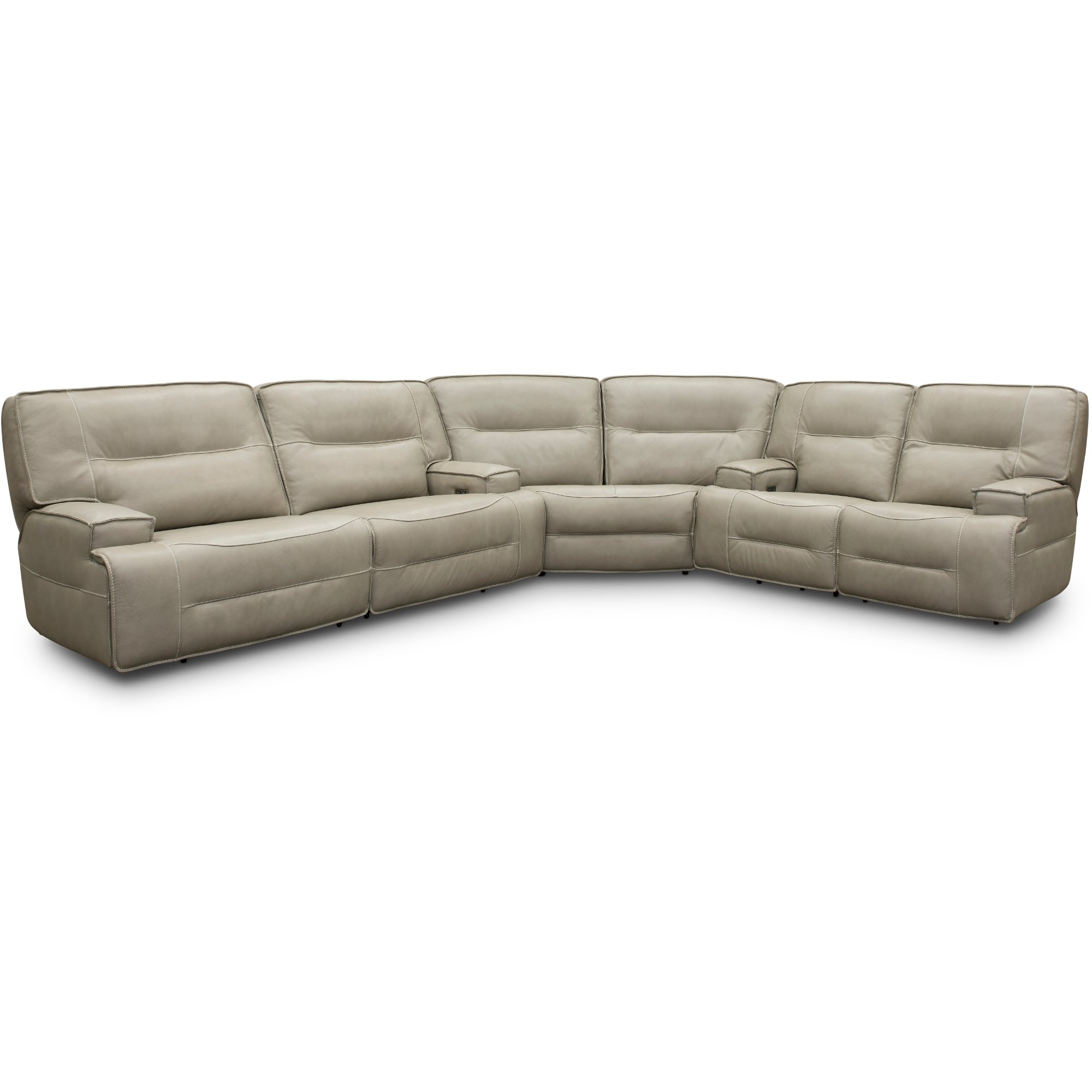 Dove Beige Leather Match Power Reclining Sectional Sofa Rockies