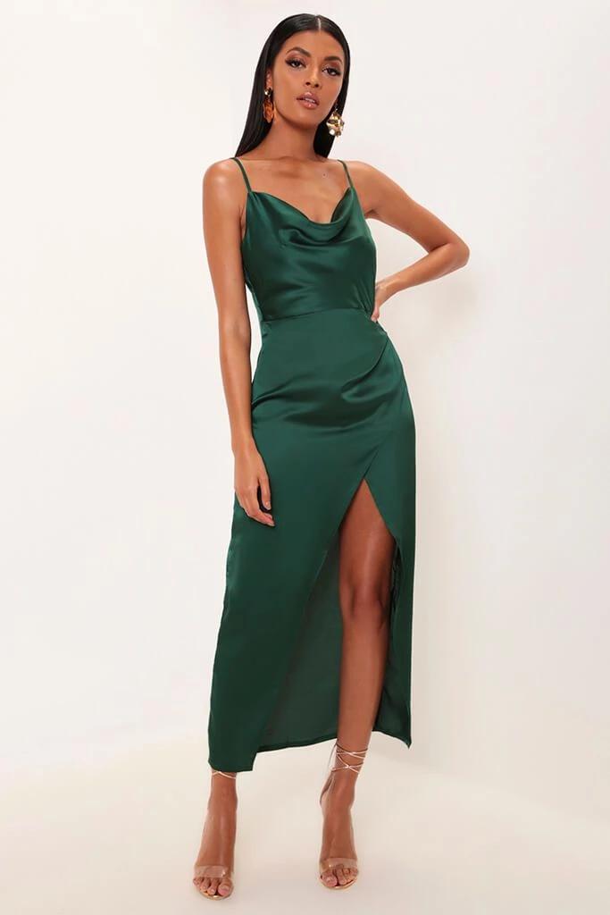 50+ Emerald green satin dress ideas