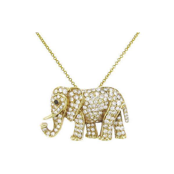 Jennifer Meyer Diamond Elephant Pendant Necklace Yellow Gold Elephant Pendant Necklace Elephant Jewelry Elephant Pendant