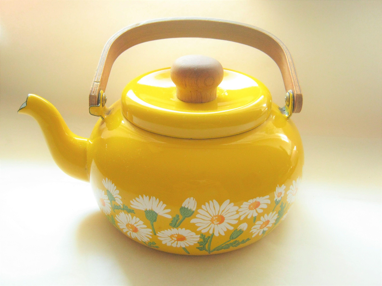 yellow enamel tea kettle daisys lid wooden handle 1970 s kitchen