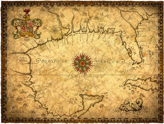 1559 gulf of mexico map art 14 x 19 new world discover spanish 1559 gulf of mexico map art early maps new world discover spanish gumiabroncs Image collections
